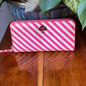 Kate Spade Pink Striped wallet VEUC